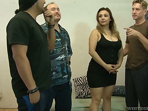 Chubby bitch Audrey Blue are fucked by several edacious fellows