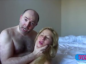 Hairy old man fucks blonde haired cookie in both holes