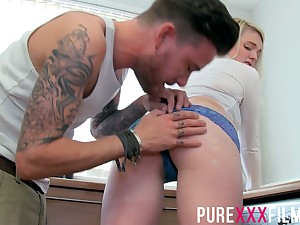Cute 19 yo blondie Carly Rae gets intimate on every side handsome stepbrother