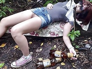 Fucked drunk Russian teen in the forest