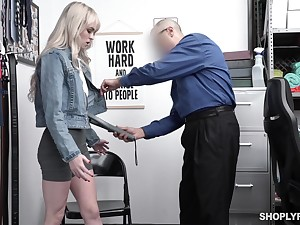 Guilty blonde chick Lilly Distress-signal strips before cop and gets poked missionary