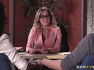 Lingerie crippling boss lady Payton West fucked on the office table