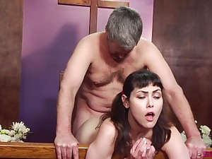 Horny man of God licks together with fucks ponytailed cutie Audrey Noir
