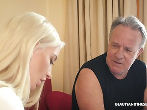 Flirty blonde chick Anna Riv seduces older man to be fucked missionary