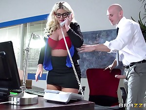 Boss lady Julie Cash fucked in the office wits her male assistant