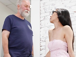 Chubby old fucker can't disregard his attraction to a crestfallen young woman