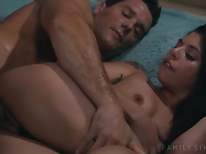 Stepdaughters Gina Valentina Fucks Daddy Exceeding The Bed