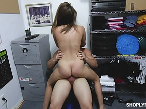 Teen shop lifter gets her pussy enlarged apart from the store manager