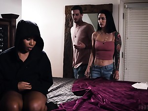 Interracial threesome on the fringe encircling Katrina Jade with the addition of Jenna Foxx
