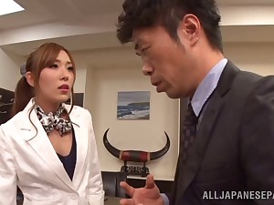 Hardcore going to bed between a boss and inviting secretary Rin Sakuragi