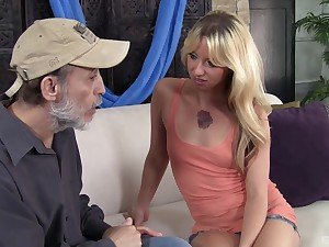 Slender blonde Megan Attractive sucks and rides a dick of an old man
