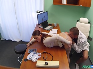 Silent cam reveals babe's addiction up the doctor's penis