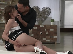 Lovely coquette Nelya gives a blowjob added to gets her anus rammed for the first time