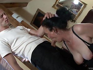 Dressed nearly black stuff and fishnet stuff mature whore Marianna is fucked