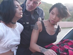 Horny shame-faced bitch Honey Gold is ready to work not susceptible cop's strong cock